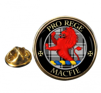 Macfie ancient Scottish Clan Round Pin Badge