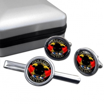 Macleod Scottish Clan Round Cufflink and Tie Clip Set