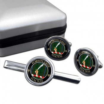 Macrae Scottish Clan Round Cufflink and Tie Clip Set