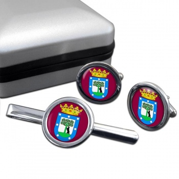 Madrid (Spain) Round Cufflink and Tie Clip Set