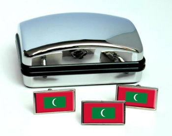 Maldives Flag Cufflink and Tie Pin Set