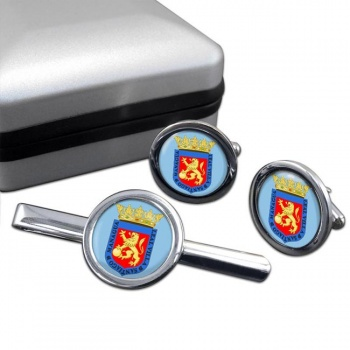 Managua (Nicaragua) Round Cufflink and Tie Clip Set