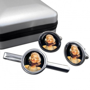 Marilyn Monroe Round Cufflink and Tie Clip Set
