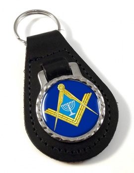 Jewish Masonic Menorah Leather Key Fob