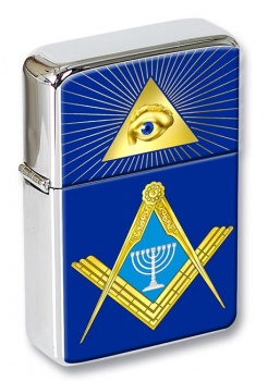 Jewish Masonic Menorah Flip Top Lighter
