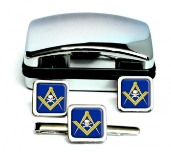 Masonic Skull Square Cufflink and Tie Clip Set