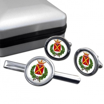 Massa (Italy) Round Cufflink and Tie Clip Set
