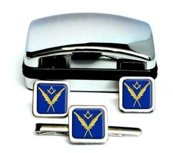 Masonic Lodge  Secretary Square Cufflink and Tie Clip Set