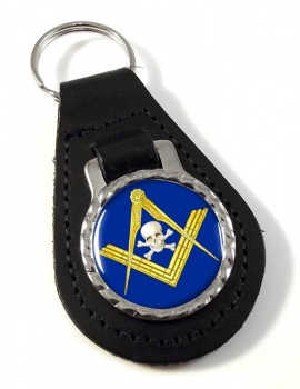 Masonic Skull Leather Key Fob