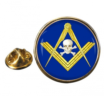 Masonic Skull Round Pin Badge