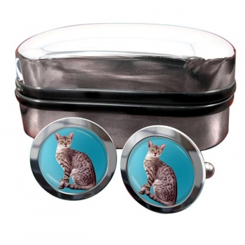 Egyptian Mau Cat  Round Cufflinks