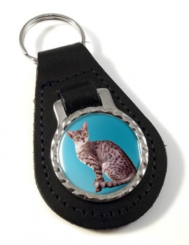 Egyptian Mau Cat Leather Key Fob