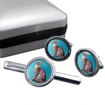 Egyptian Mau Cat  Cufflink and Tie Clip Set