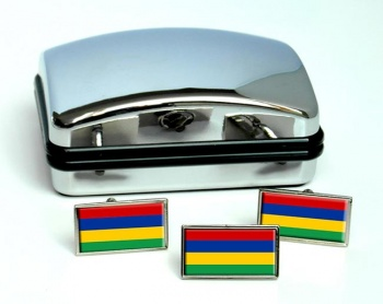 Mauritius Maurice Flag Cufflink and Tie Pin Set