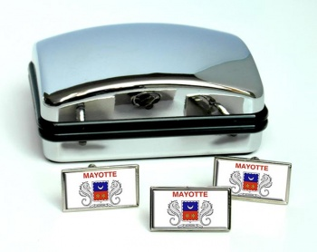 Mayotte Flag Cufflink and Tie Pin Set
