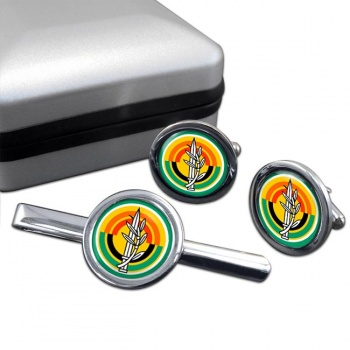 MAZI (IDF) Round Cufflink and Tie Clip Set