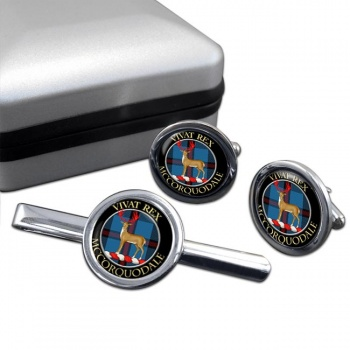 McCorquodale Scottish Clan Round Cufflink and Tie Clip Set