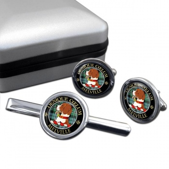 Melville Scottish Clan Round Cufflink and Tie Clip Set