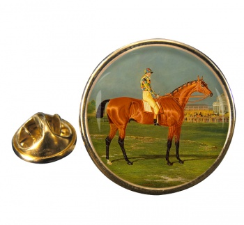 Racehorse Menmon with William Scott up Round Pin Badge