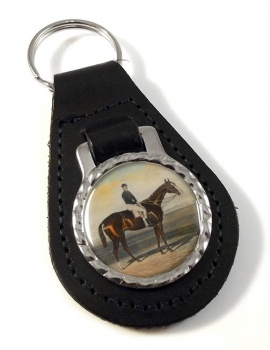 Racehorse Meteor W. Scott up Leather Key Fob
