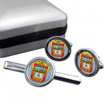 Estado de Mexico Round Cufflink and Tie Clip Set