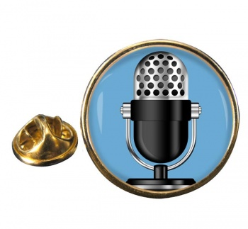 Microphone Round Pin Badge