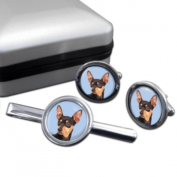 Miniature Pinscher Cufflink and Tie Clip Set