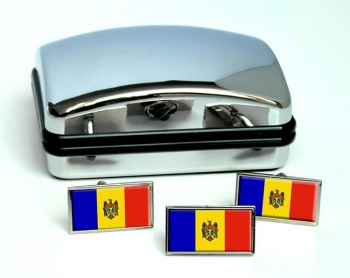 Moldova Flag Cufflink and Tie Pin Set