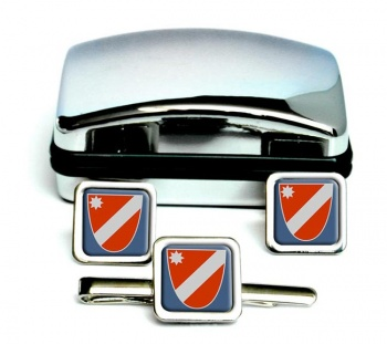 Molise (Italy) Square Cufflink and Tie Clip Set