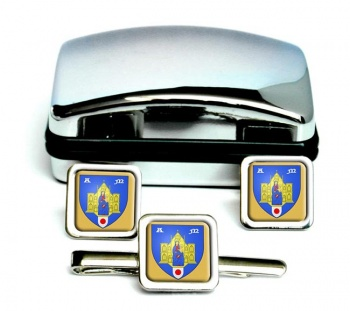 Montpellier (France) Square Cufflink and Tie Clip Set