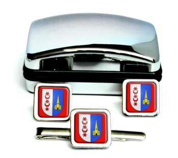 Montreux (Switzerland) Square Cufflink and Tie Clip Set