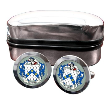 Moore English Coat of Arms Round Cufflinks