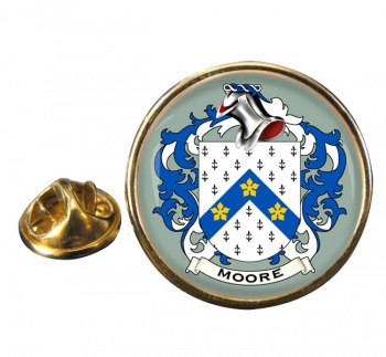 Moore English Coat of Arms Round Pin Badge
