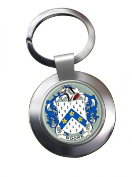 Moore English Coat of Arms Chrome Key Ring