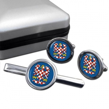 Moravia Round Cufflink and Tie Clip Set