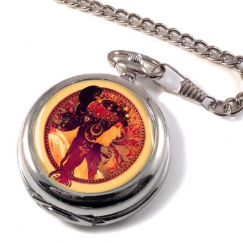 Donna Orechini by Mucha Pocket Watch