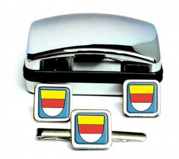 Munster (Germany) Square Cufflink and Tie Clip Set