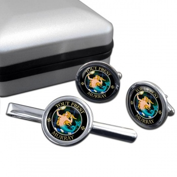 Murray (mermaid) Scottish Clan Round Cufflink and Tie Clip Set