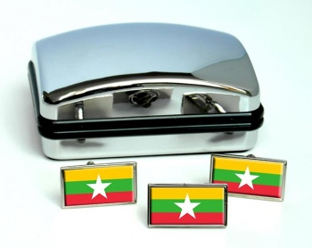 Burma Myanmar Flag Cufflink and Tie Pin Set