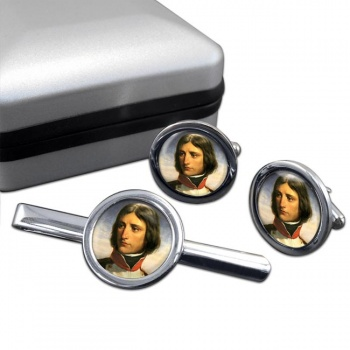Napoleon Bonaparte 1792 Round Cufflink and Tie Clip Set