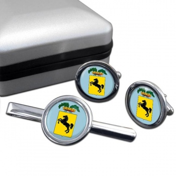 Napoli (Italy) Round Cufflink and Tie Clip Set