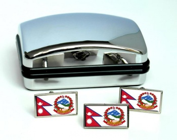 Nepal Flag Cufflink and Tie Pin Set