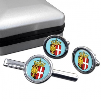 Neuss (Germany) Round Cufflink and Tie Clip Set