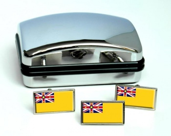 Niue (New Zealand) Flag Cufflink and Tie Pin Set
