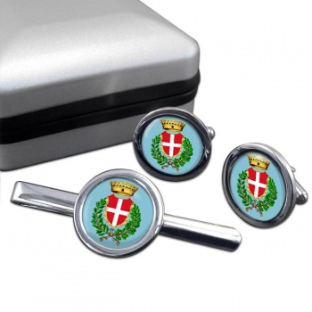 Noli (Italy) Round Cufflink and Tie Clip Set