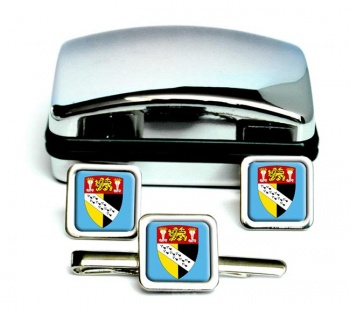 Norfolk (England) Square Cufflink and Tie Clip Set