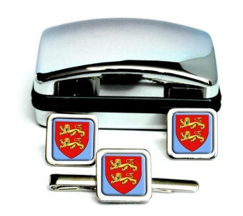 Normandie (France) Square Cufflink and Tie Clip Set