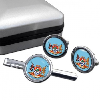 Northern Cape (South Africa) Round Cufflink and Tie Clip Set