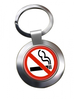 No Smoking Chrome Key Ring