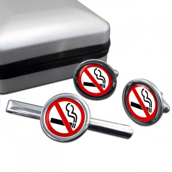No Smoking Round Cufflink and Tie Clip Sert